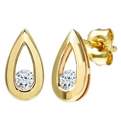 9ct Yellow Gold 0.15ct Diamond Tear Drop Earrings