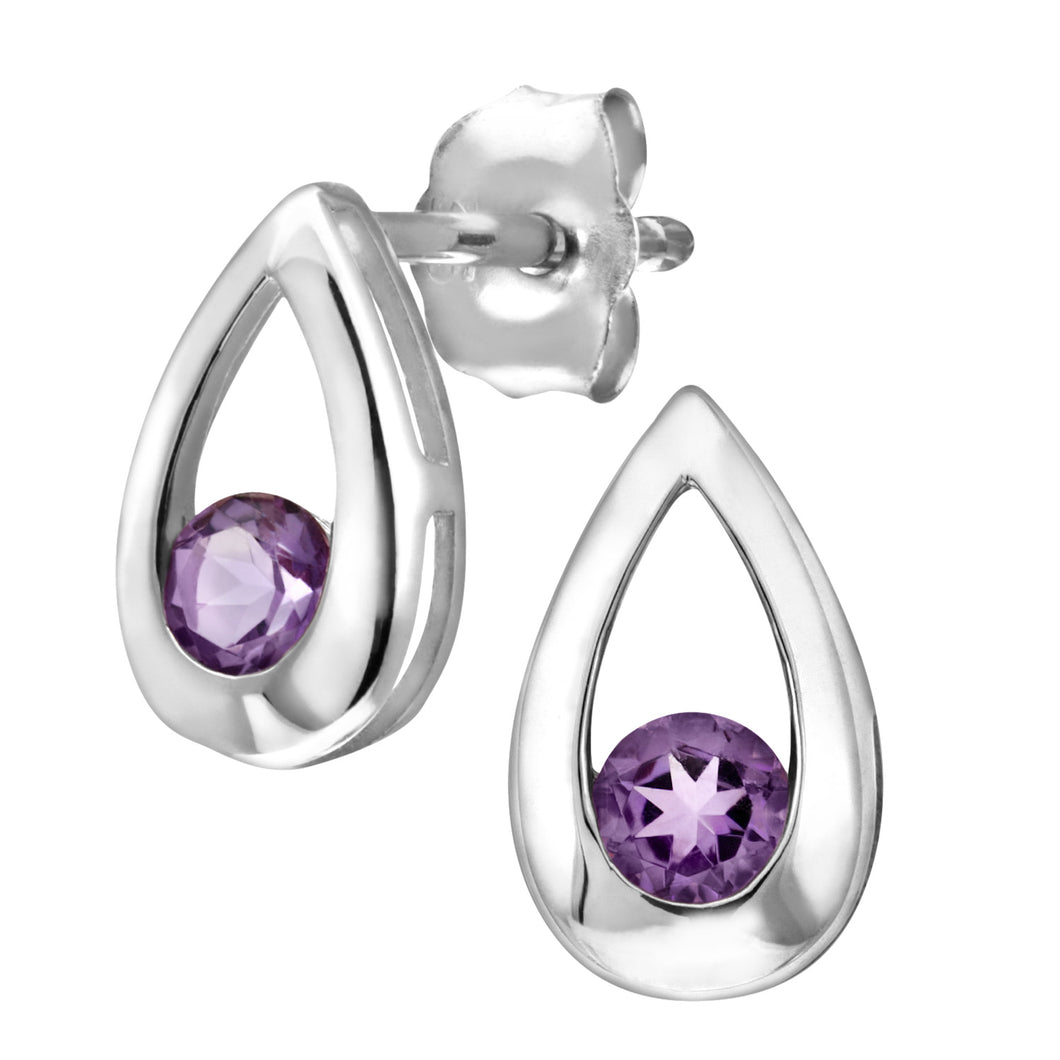 9ct White Gold 0.20ct Amethyst Tear Drop Earring