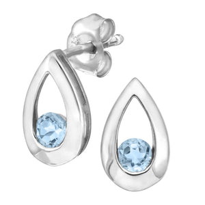 9ct White Gold 0.30ct Blue Topaz Tear Drop Earring