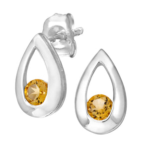 9ct White Gold 0.25ct Citrine Tear Drop Earring