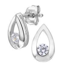 Load image into Gallery viewer, 9ct White Gold Cubic Zirconia Tear Drop Earring