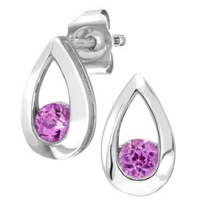 9ct White Gold 0.30ct Created Pink Sapphire Tear Drop Earring