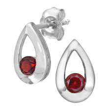 Load image into Gallery viewer, 9ct White Gold 0.35ct Garnet Tear Drop Earring