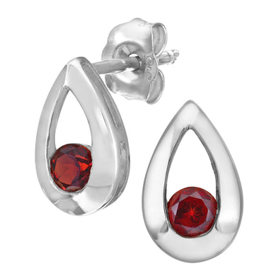 9ct White Gold 0.35ct Garnet Tear Drop Earring