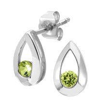 Load image into Gallery viewer, 9ct WhiteGold 0.25ct Peridot Tear Drop Earring