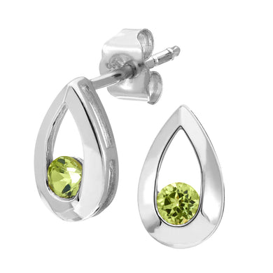 9ct WhiteGold 0.25ct Peridot Tear Drop Earring
