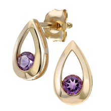 Load image into Gallery viewer, 9ct Yellow Gold 0.20ct Amethyst Tear Drop Earring