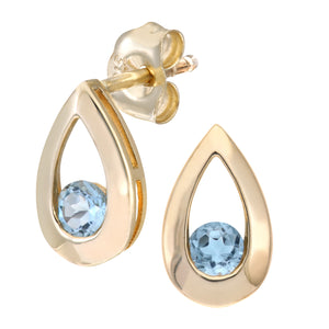 9ct Yellow Gold 0.30ct Blue Topaz Tear Drop Earring