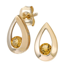 Load image into Gallery viewer, 9ct Yellow Gold 0.25ct Citrine Tear Drop Earring