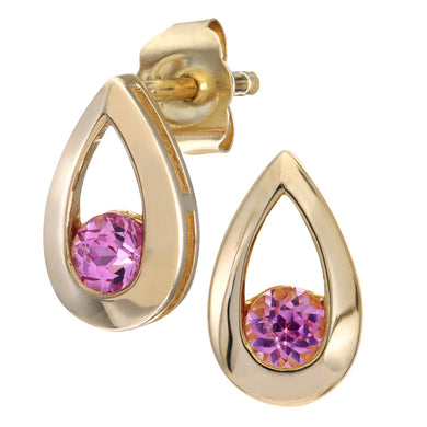 9ct Yellow Gold 0.30ct Created Pink Sapphire Tear Drop Earring