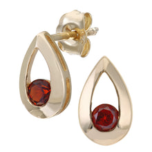Load image into Gallery viewer, 9ct Yellow Gold 0.35ct Garnet Tear Drop Earring