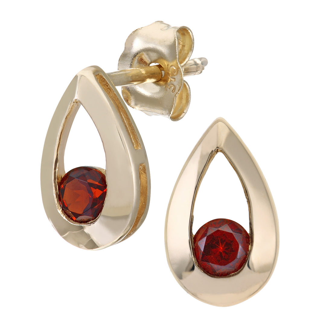 9ct Yellow Gold 0.35ct Garnet Tear Drop Earring