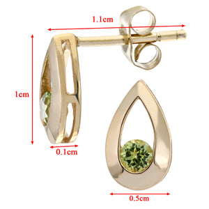 9ct YellowGold 0.25ct Peridot Tear Drop Earring