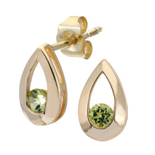 Load image into Gallery viewer, 9ct YellowGold 0.25ct Peridot Tear Drop Earring
