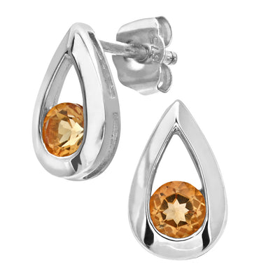 9ct White Gold 0.30ct Citrine Tear Drop Earring