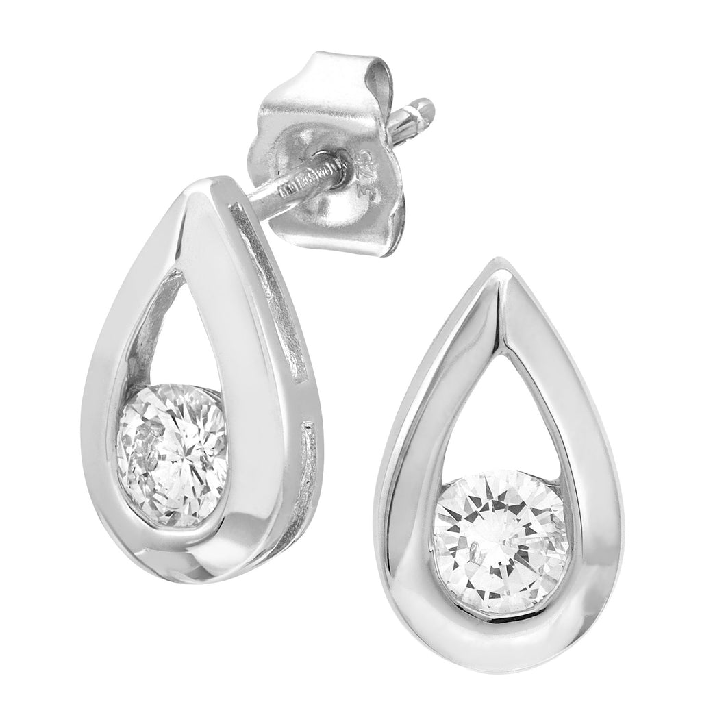 9ct White Gold Third Carat Diamond Tear Drop Earrings