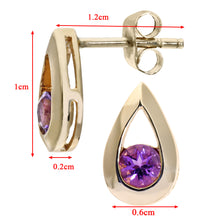 Load image into Gallery viewer, 9ct Yellow Gold 0.25ct Amethyst Tear Drop Earring