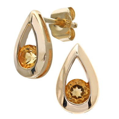 9ct Yellow Gold 0.30ct Citrine Tear Drop Earring
