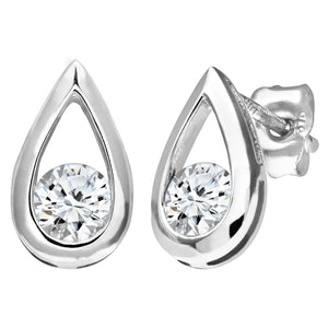 9ct White Gold Half Carat Diamond Tear Drop Earrings