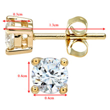 Load image into Gallery viewer, 9ct Yellow Gold Ladies 50pt Single Stone Diamond Earrings