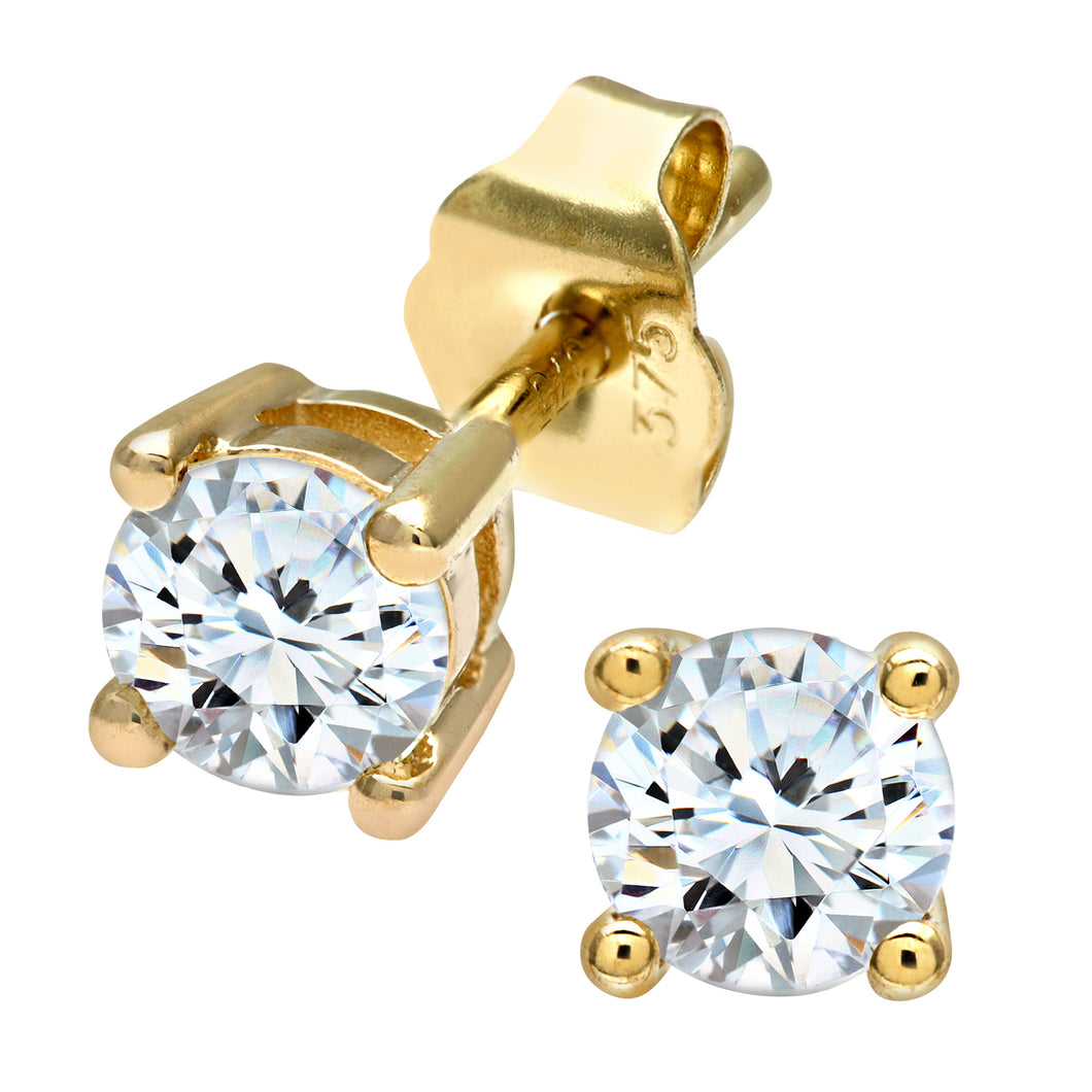 9ct Yellow Gold Ladies 50pt Single Stone Diamond Earrings