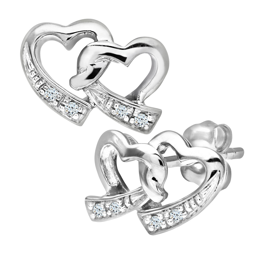 Ladies 9ct White Gold Diamond Double Heart Earrings