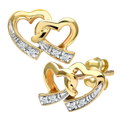 9ct Yellow Gold Ladies Diamond Earrings