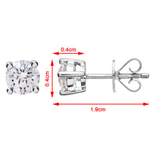 Load image into Gallery viewer, Diamond Stud Earrings, 18ct White Gold H/SI Round Brilliant Certified Diamond Earrings, 0.75ct Diamond Weight