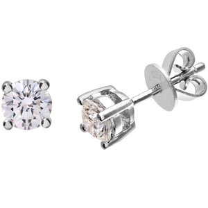 Diamond Stud Earrings, 18ct White Gold H/SI Round Brilliant Certified Diamond Earrings, 0.75ct Diamond Weight