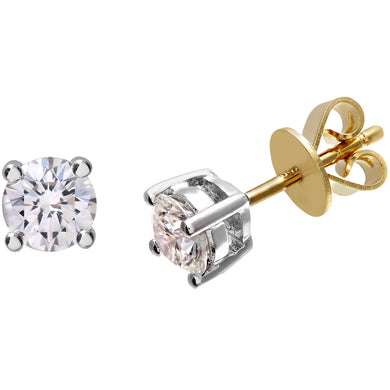 Diamond Stud Earrings, 18ct Yellow Gold H/SI Round Brilliant Certified Diamond Earrings, 0.75ct Diamond Weight