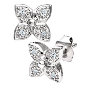 Ladies 9ct White Gold Diamond Flower Earrings