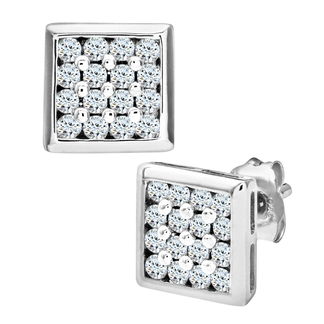9ct White Gold Mens 20pt Diamond Earring