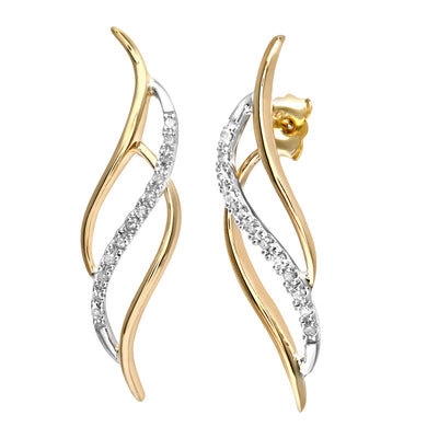 9ct Yellow and White Gold 10pt Diamond Earrings