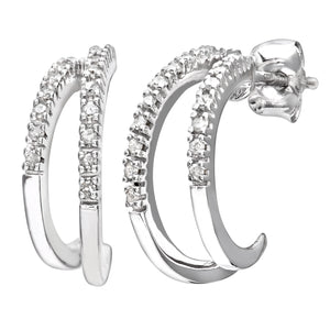 9ct White Gold Ladies 15pt Diamond Earrings