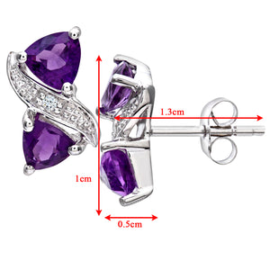 9ct White Gold Ladies Diamond and Amethyst Earrings