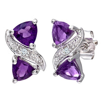 Load image into Gallery viewer, 9ct White Gold Ladies Diamond and Amethyst Earrings