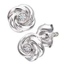 Load image into Gallery viewer,  Ladies 9ct White Gold Diamond Flower Earrings