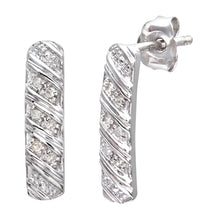 Load image into Gallery viewer, 9ct White Gold Ladies 5pt Diamond Earrings