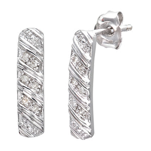 9ct White Gold Ladies 5pt Diamond Earrings