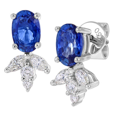 18ct White Gold 0.33ct Diamond and Sapphire Leaf Earrings