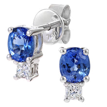 Load image into Gallery viewer, 18ct White Gold Ladies 10pt Diamond and Sapphire Earrings
