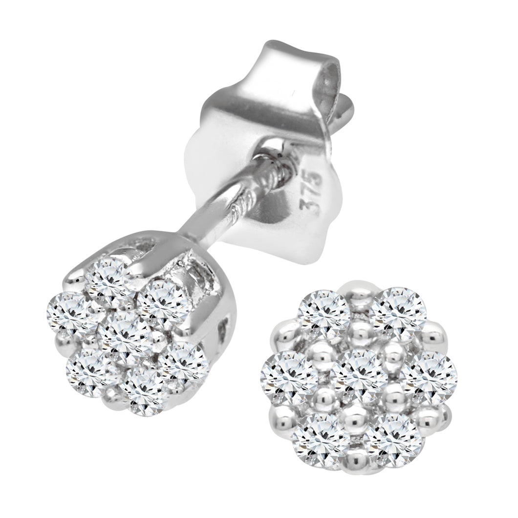 9ct White Gold Ladies 10pt Diamond Earrings