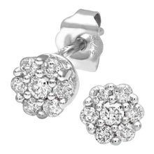 Load image into Gallery viewer, 9ct White Gold Ladies 25pt Diamond Earrings