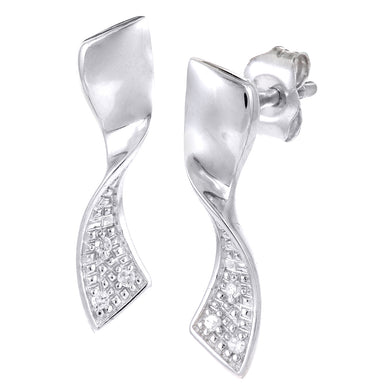 Ladies 9ct White Gold Diamond Twist Earrings