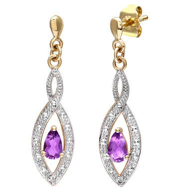 9ct Yellow Gold Ladies Diamond and Amethyst Earrings