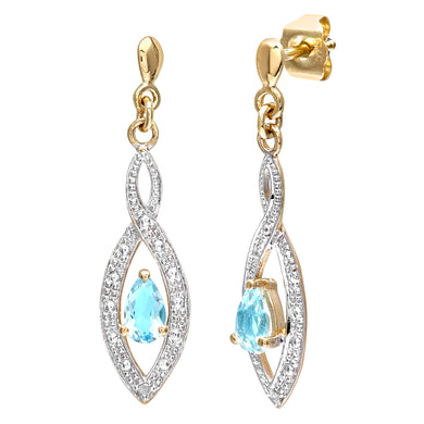9ct Yellow Gold Ladies Diamond and Blue Topaz Earrings
