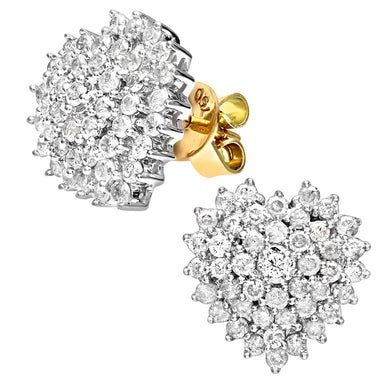 18ct Yellow Gold 1ct Heart Shaped Diamond Cluster Earrings