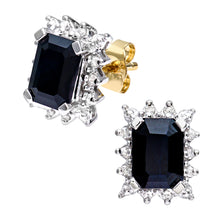 Load image into Gallery viewer, 9ct Yellow Gold Ladies Diamond and Sapphire Earrings