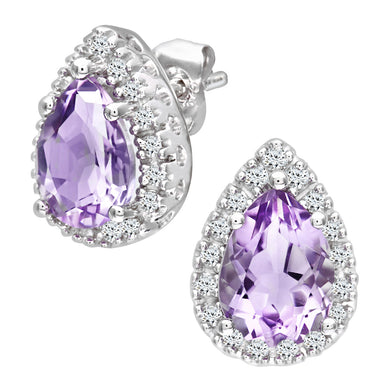 9ct White Gold Teardrop Shaped Amethyst and Diamond Earrings