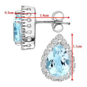 9ct White Gold Teardrop Shaped Blue Topaz and Diamond Earrings